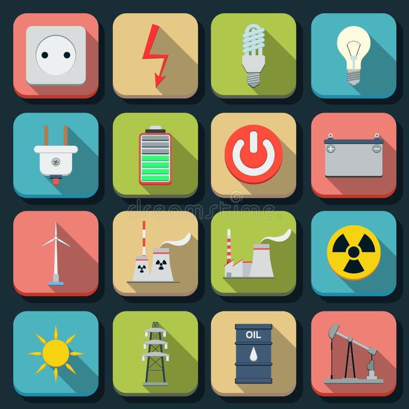 Icônes plates de vecteur d'énergie illustration stock