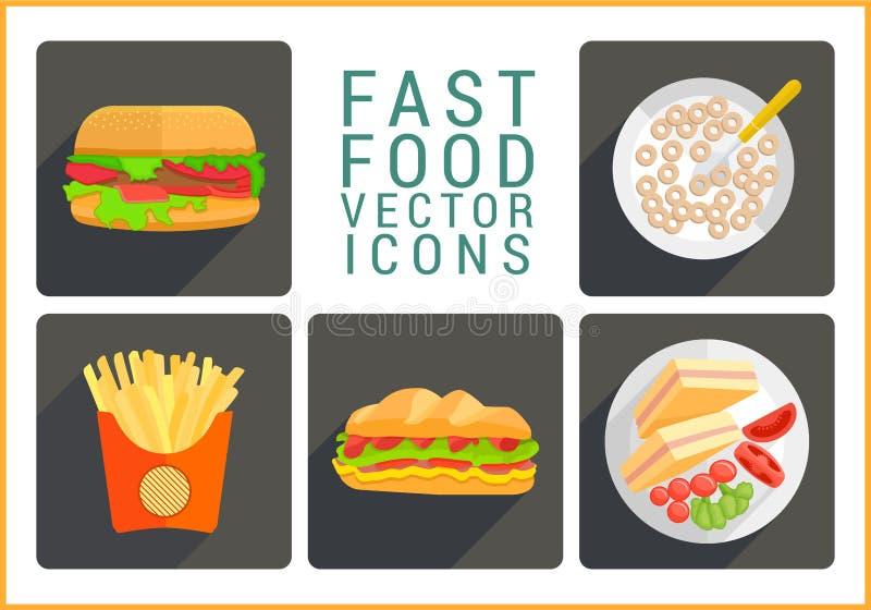 Icônes plates de vecteur d'aliments de préparation rapide illustration de vecteur