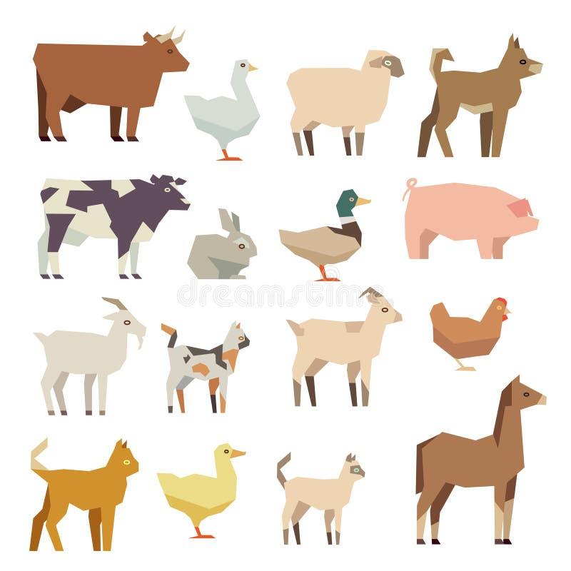 Icônes plates de vecteur d'animaux familiers et d'animaux de ferme réglées illustration de vecteur