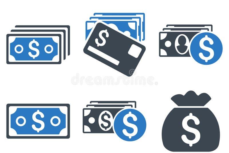 Icônes plates de vecteur d'argent d'argent liquide illustration stock