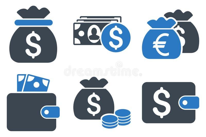 Icônes plates de vecteur d'argent d'argent liquide illustration libre de droits