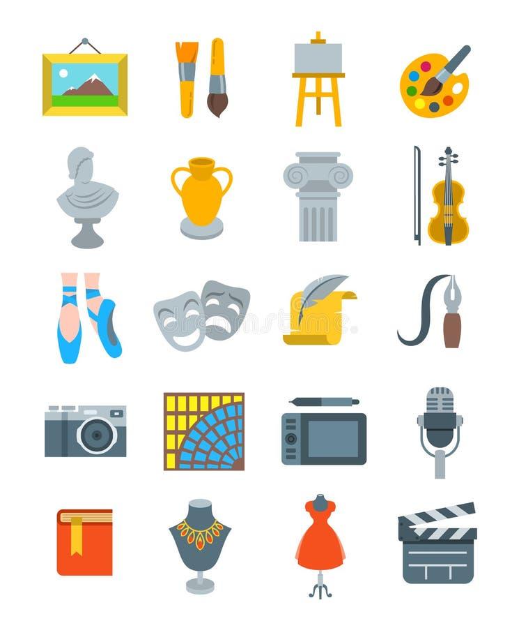 Icônes plates de vecteur d'art et de métiers réglées illustration de vecteur