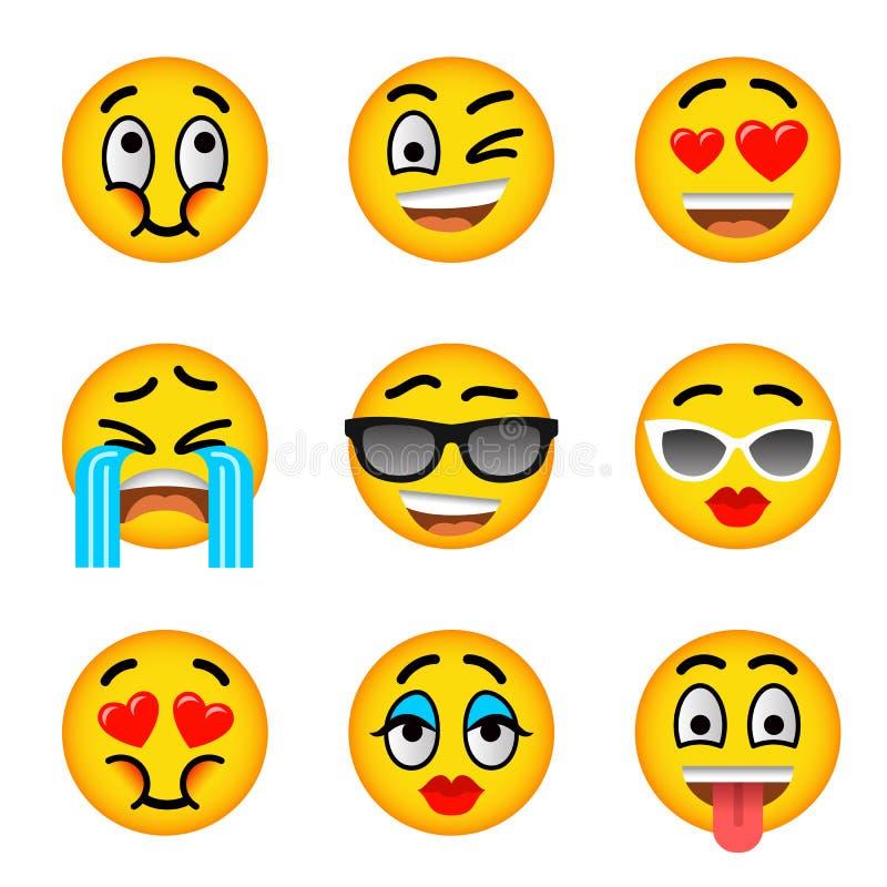 Icônes plates de vecteur d'emoji souriant de visage réglées illustration libre de droits
