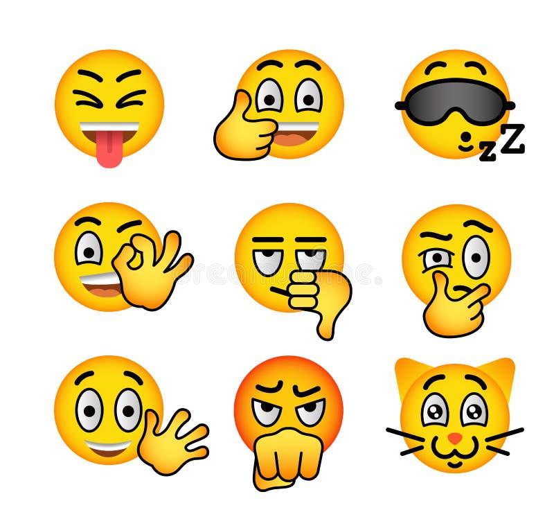 Icônes plates de vecteur d'emoji souriant de visage réglées illustration stock