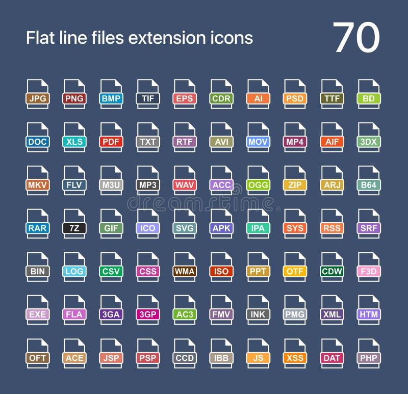 Icônes plates de vecteur d'extension du fichier Bruit, graphique, archives, photo, document, Internet et extensions du système illustration stock