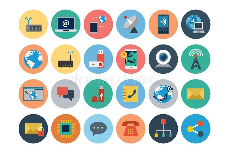 Icônes plates 1 de vecteur d'Internet illustration de vecteur