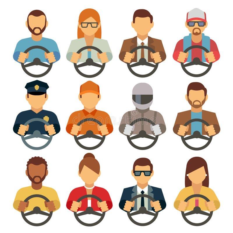 Icônes plates de vecteur de conducteurs d'homme et de femme illustration libre de droits
