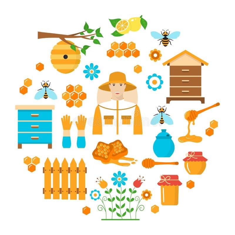 Icônes plates de vecteur de l'apiculture de miel réglées illustration stock