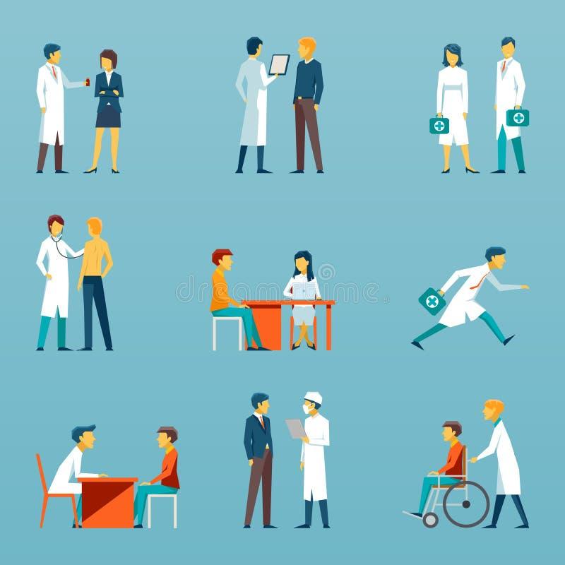 Icônes plates de vecteur de personnel médical Ensemble de soins de santé illustration libre de droits