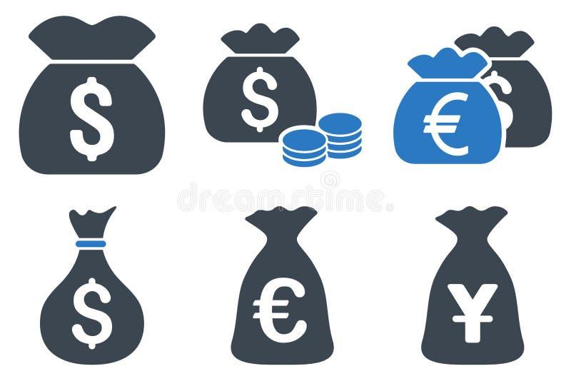 Icônes plates de vecteur de sac d'argent illustration libre de droits