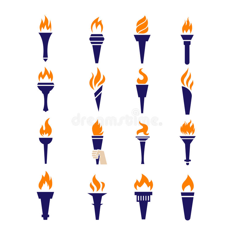 Icônes plates de vecteur du feu de torche de victoire de flamme olympique de championnat réglées illustration de vecteur