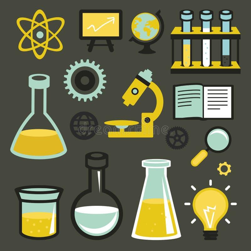 Icônes plates de vecteur - la science et éducation illustration de vecteur