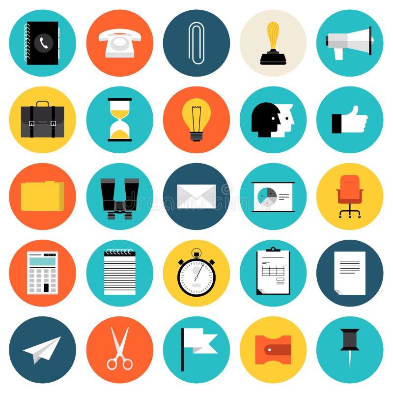 Icônes plates de vente et d'affaires réglées illustration stock