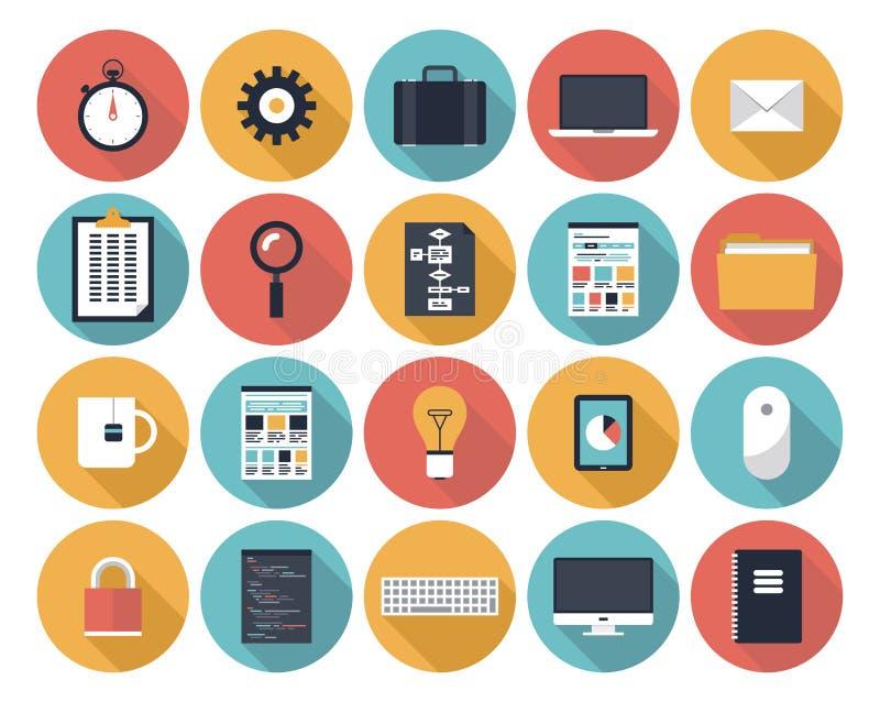 Icônes plates de Web réglées illustration libre de droits