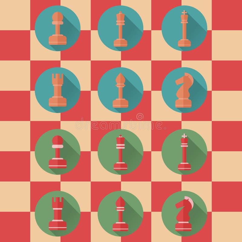 Icônes plates des chiffres d'échecs illustration de vecteur