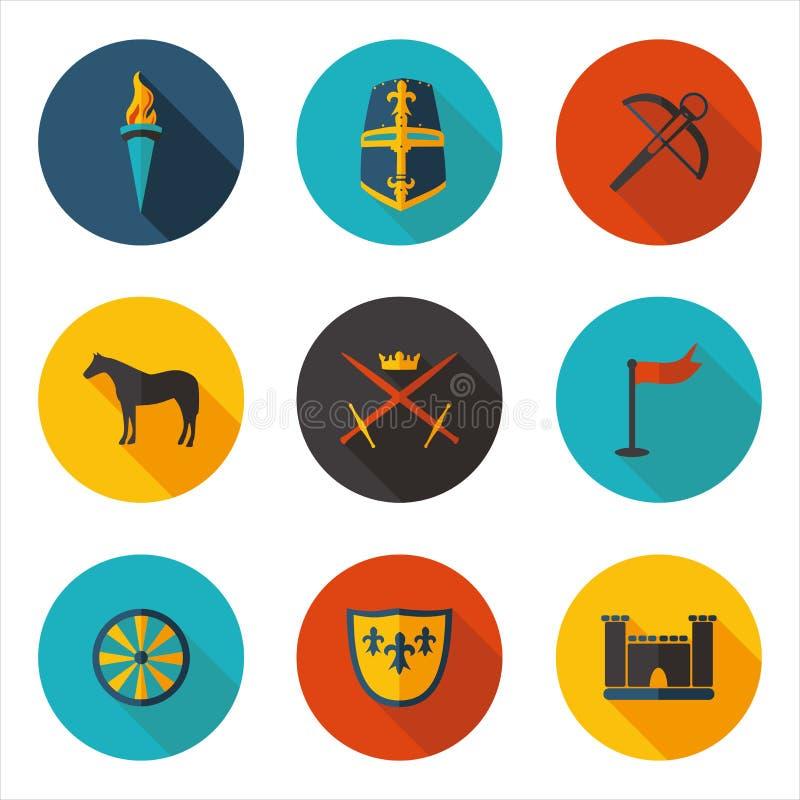Icônes plates des Moyens Âges illustration libre de droits
