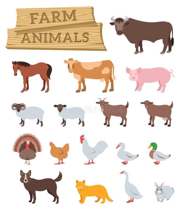 Icônes plates domestiques de vecteur d'animaux de ferme illustration libre de droits