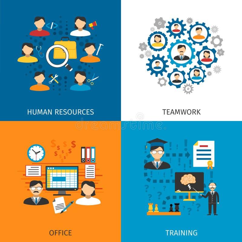 Icônes plates du concept 4 de ressources humaines illustration libre de droits