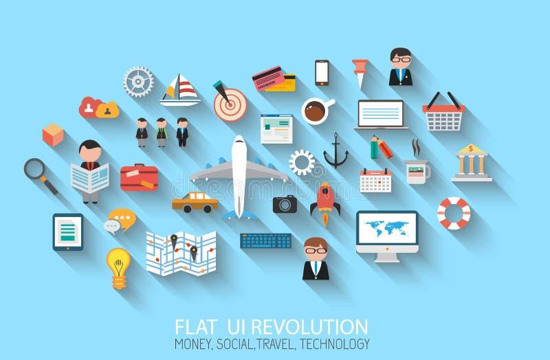 Icônes plates du style UI à employer pour votre projec d'affaires illustration stock