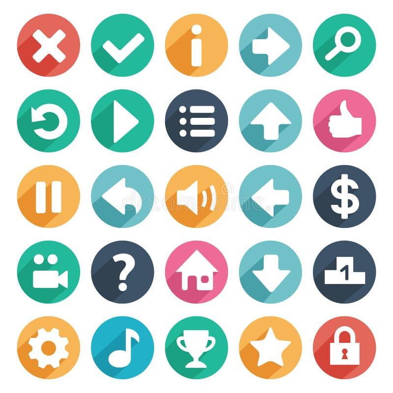 Icônes plates et rondes de jeu illustration libre de droits