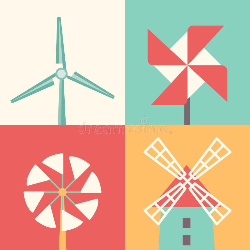 Icônes plates linéaires de moulin à vent Illustration de vecteur de bande dessinée d'énergie éolienne illustration stock