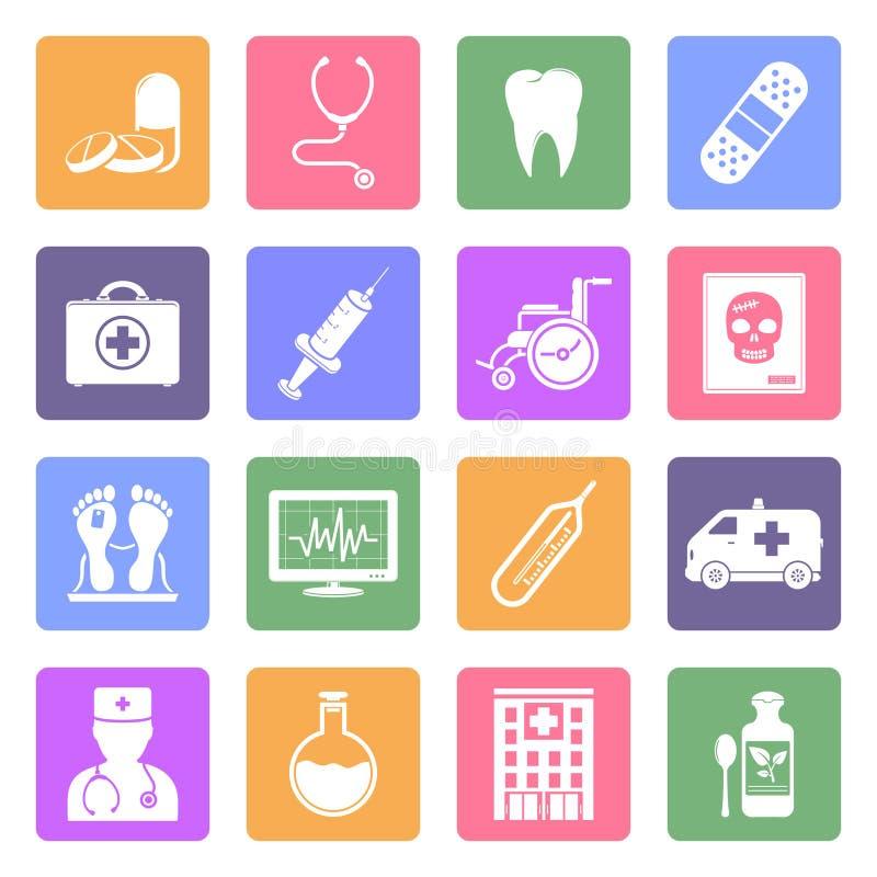 Icônes plates médicales réglées illustration libre de droits