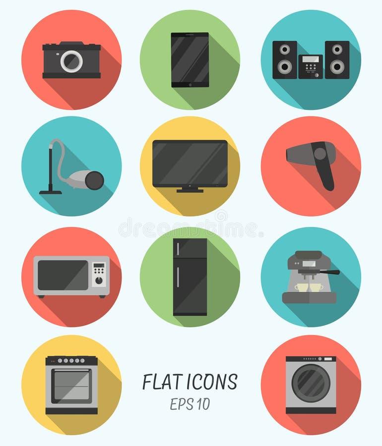Icônes plates modernes de collection avec le long effet d'ombre pour la conception image stock