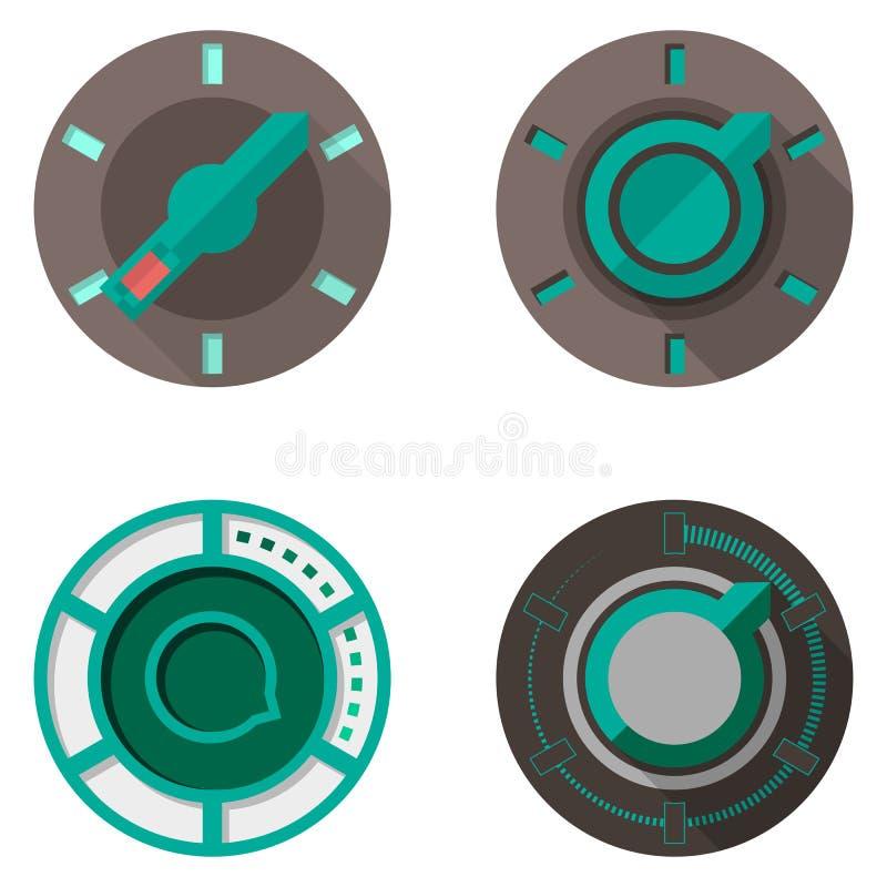 Icônes plates pour des commutateurs de culbuteur illustration de vecteur