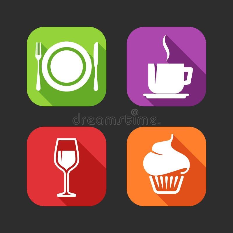Icônes plates pour le Web et applications mobiles avec des signes de repas illustration stock
