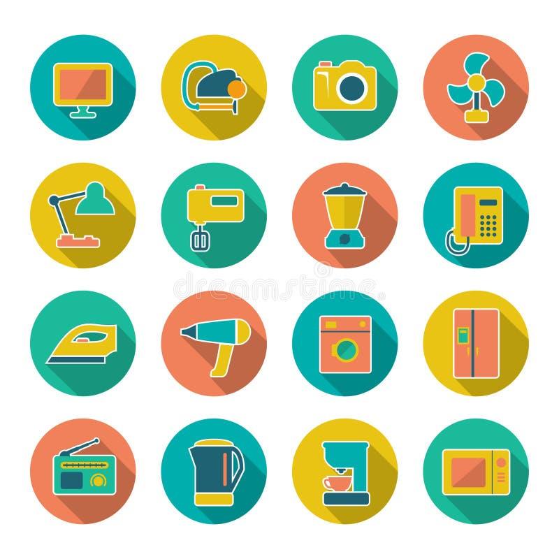 Icônes plates réglées des techniques à la maison et des appareils illustration de vecteur