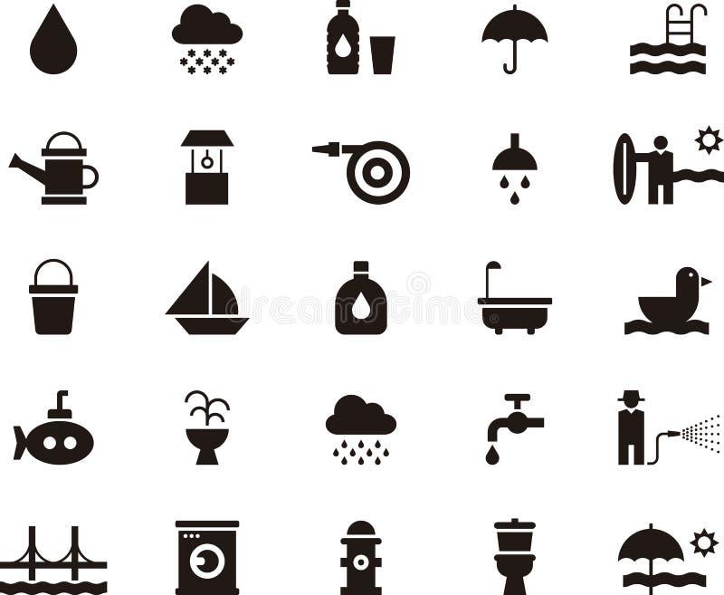 Icônes plates relatives de Web de glyph de l'eau illustration stock