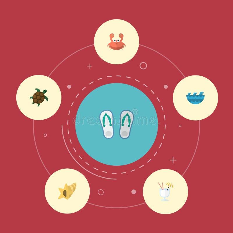 Icônes plates Shell, pantoufles illustration libre de droits