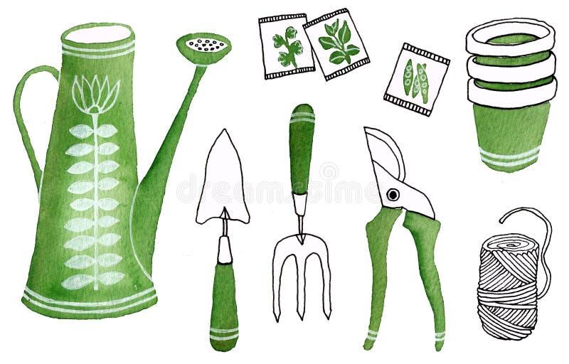 Icônes pour aquarelle d'outils de jardinage illustration stock