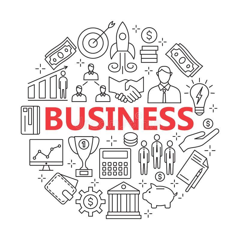 Icônes pour des affaires, gestion, finances, stratégie, planification, illustration de vecteur