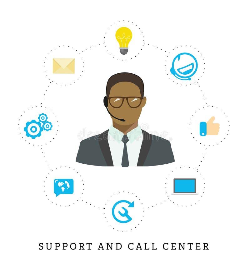 Icônes pour le centre d'appels ou la ligne directe, opérateur féminin de centre d'appels, s illustration libre de droits