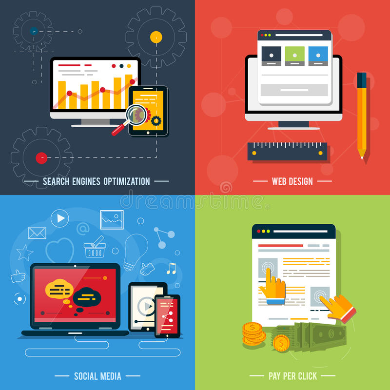 Icônes pour le web design, seo, media social illustration stock