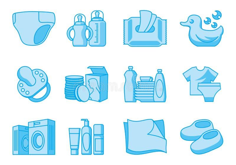 Icônes pour les approvisionnements nouveau-nés et de mère illustration de vecteur