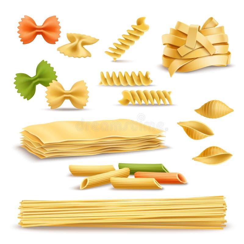 Icônes réalistes d'assortiment sec de pâtes réglées illustration stock