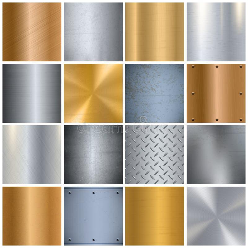 Icônes réalistes de texture en métal grandes réglées illustration stock