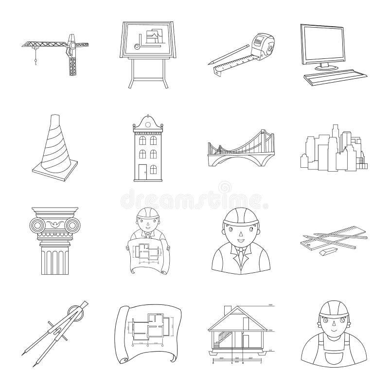 Icônes réglées d'architecte dans le style d'ensemble Grande collection de symbole d'architecte illustration de vecteur