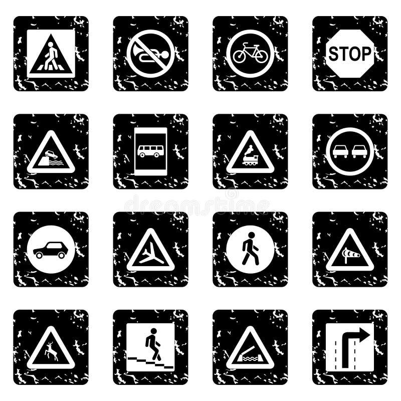 Icônes réglées d'ensemble de panneau routier, style grunge illustration stock