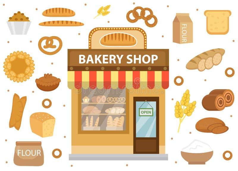 Icônes réglées de boulangerie avec le bâtiment de boutique de pain, petit pain, pain, gâteaux, bagels illustration stock