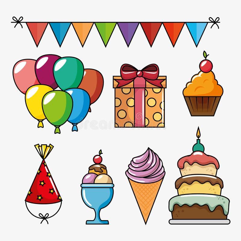icônes réglées de célébration d'anniversaire illustration de vecteur