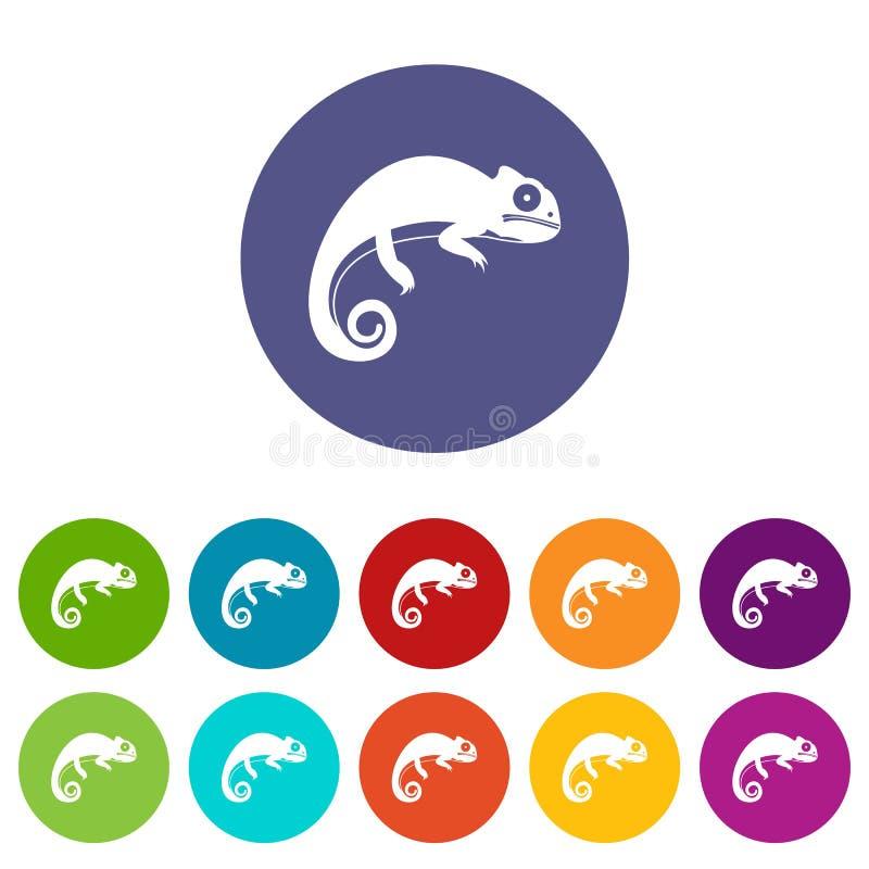 Icônes réglées de caméléon illustration de vecteur