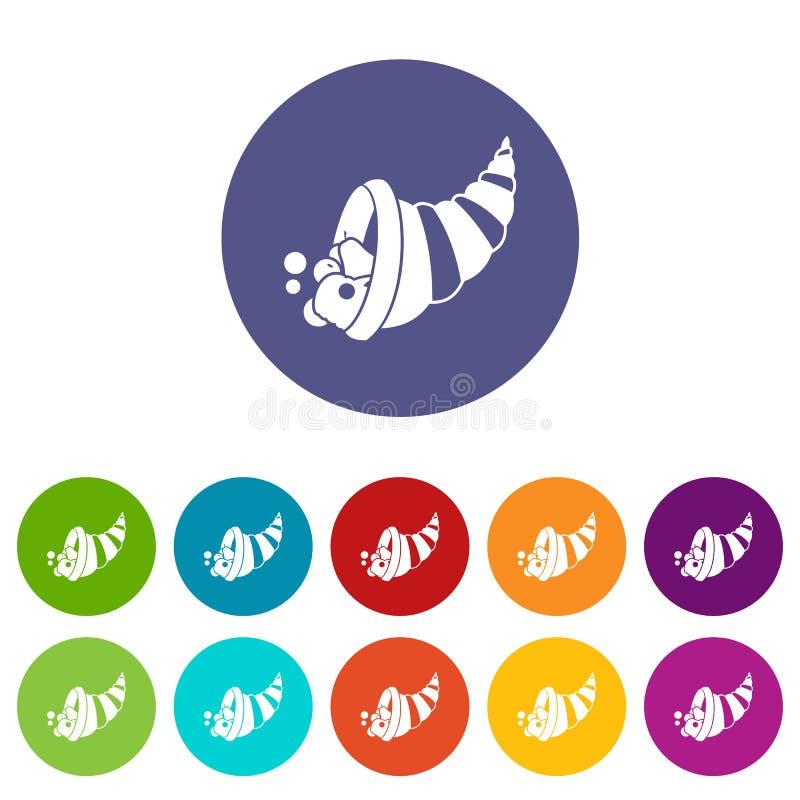 Icônes réglées de corne d'abondance de thanksgiving illustration stock