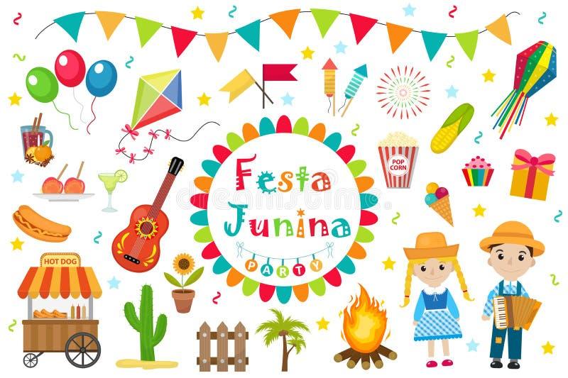 Icônes réglées de Festa Junina, style plat Festival latino-américain brésilien, célébration des symboles traditionnels Collection illustration de vecteur