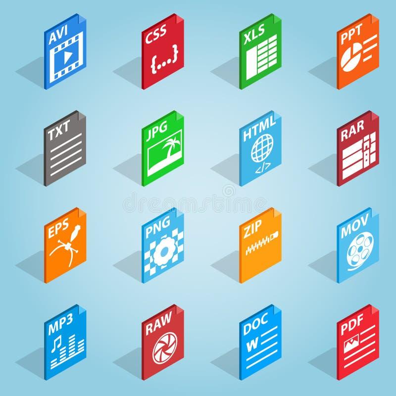 Icônes réglées de format de fichier, style 3d isométrique illustration libre de droits