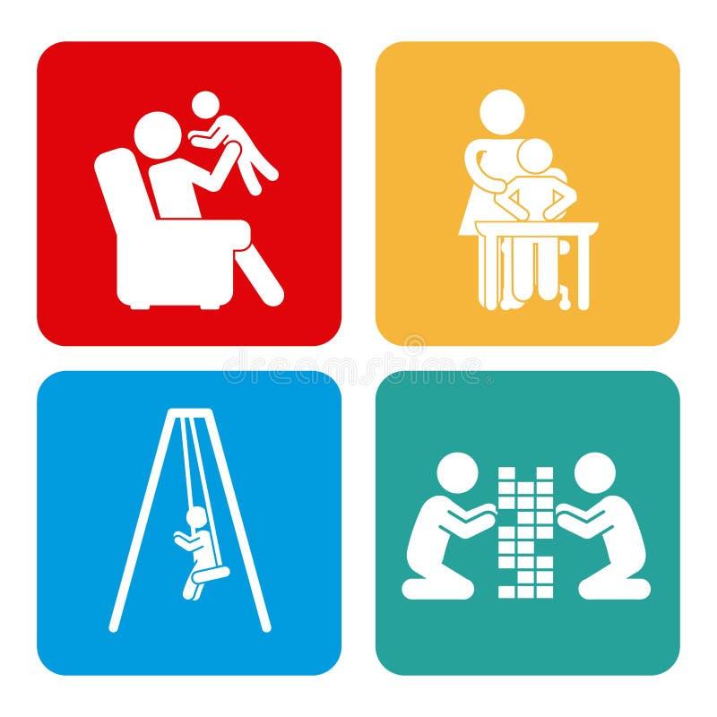 Icônes réglées de la famille illustration libre de droits