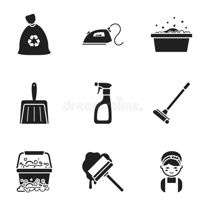 ic nes r gl es de nettoyage dans le style noir grande collection de symbole de nettoyage. Black Bedroom Furniture Sets. Home Design Ideas