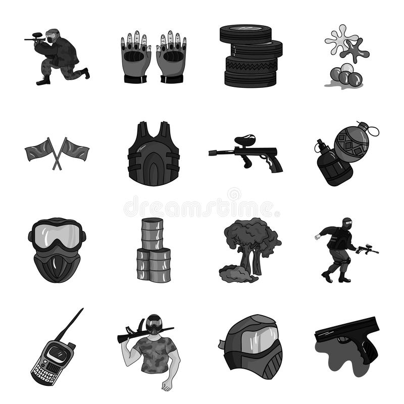Icônes réglées de Paintball dans le style monochrome Grande collection d'illustration d'actions de symbole de vecteur de paintbal illustration stock